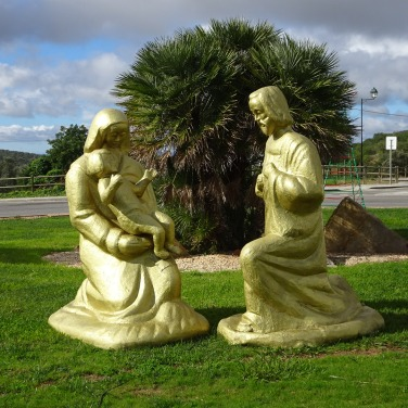 A Nativity scene at one of the round abouts.