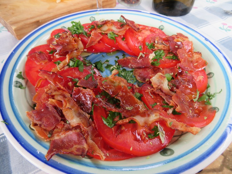 Fresh tomato, herb and bacon salad.