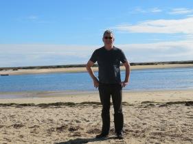 Enjoying a walk on the beach.