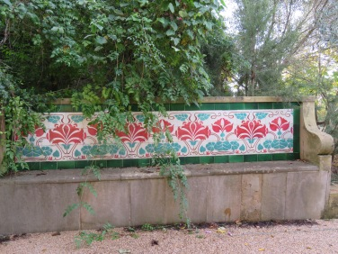 Tiled benches invite relaxing and offer tranquility.