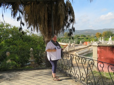 Gwen enjoying the gardens and the adjoining vista.
