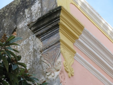 The corner of an old building near the main square.