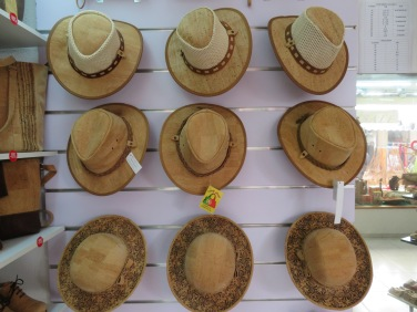 A lovely display of cork hats.
