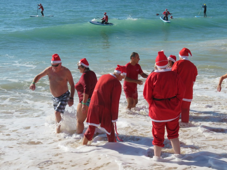 """There must have been about 100 """"Santas"""" who braved the water and waves."""