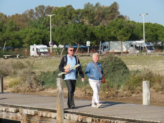Enjoying a stroll on the boardwalk to burn off our frango