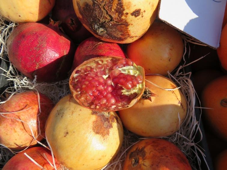 Ripe pomegranates for sale