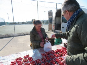 Marc bought us two containers of strawberries, which grow in abundance here all year long.