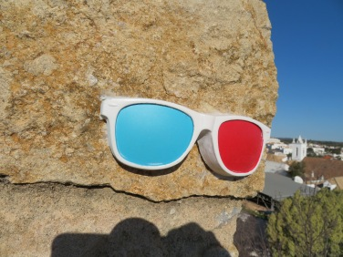 Somebody had glued these sunglasses to the very end of the castle wall at the highest point.....I saw it only because I had leaned out to get a look at the view.