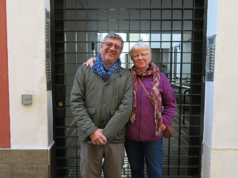 Standing outside the courtyard gate to our apartment, which was ideally located and a perfect choice for us.