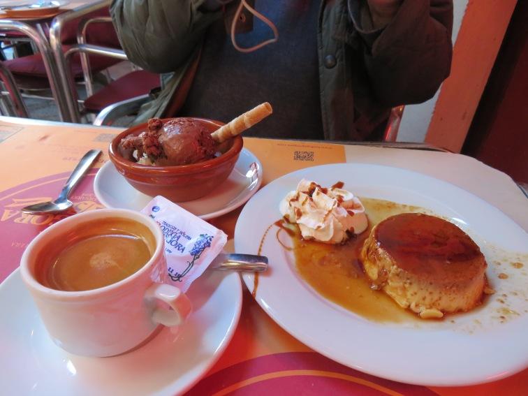 Espresso, chocolate ice cream and flan