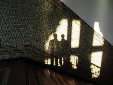 Marc and I enjoying the shadows and stairways of the Plaza de España