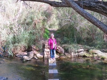 Crossing the river and doing her best not to fall in, I had my camera ready just in case!!!