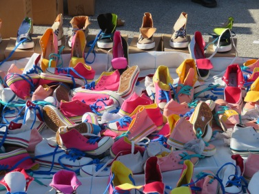 These lovely colourful sneakers......artfully displayed, caught my eye