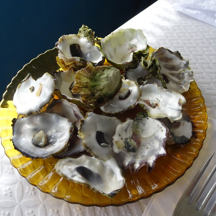 Forgot to take a photo of our oysters while they were full but, you get the idea!! This was, by the way, part of the olive/bread delivery, not ordered by us.