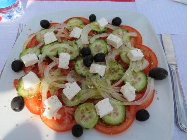 A lovely fresh Greek salad with amazing feta for Andrea.