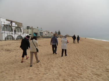 It was not cold, we bundled up from the wind and sand.