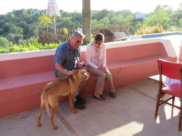 Marc and Diane with a visiting pooch.......who has affectionately been dubbed Porto. A local stray.