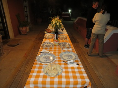 Another angle of the table set for the 11 of us.