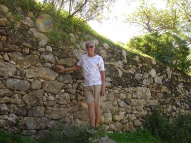 These old retaining walls are all up and down the mountain in a terraced fashion. Wanted to give you an idea of the height of some of them.....it;s not just so you can appreciate my legs!!!