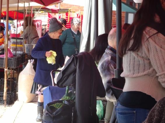 Shoppers enjoying the many fares.