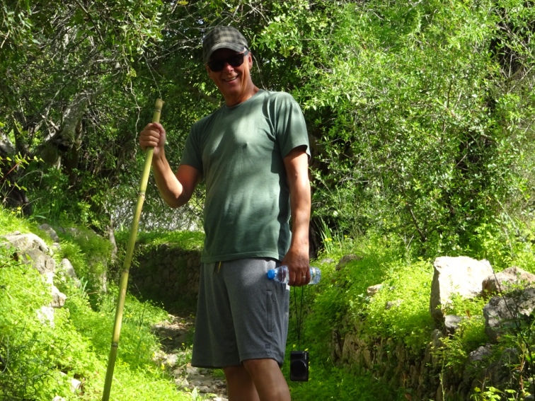 Our trusty bamboo poles helped us stay balanced along many parts of the path that were either quite rocky or wet.