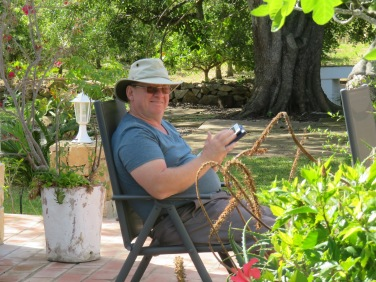 """Gary enjoying the ipad in the great outdoors.......he's been dreaming about being at the """"farm"""" and now he is."""