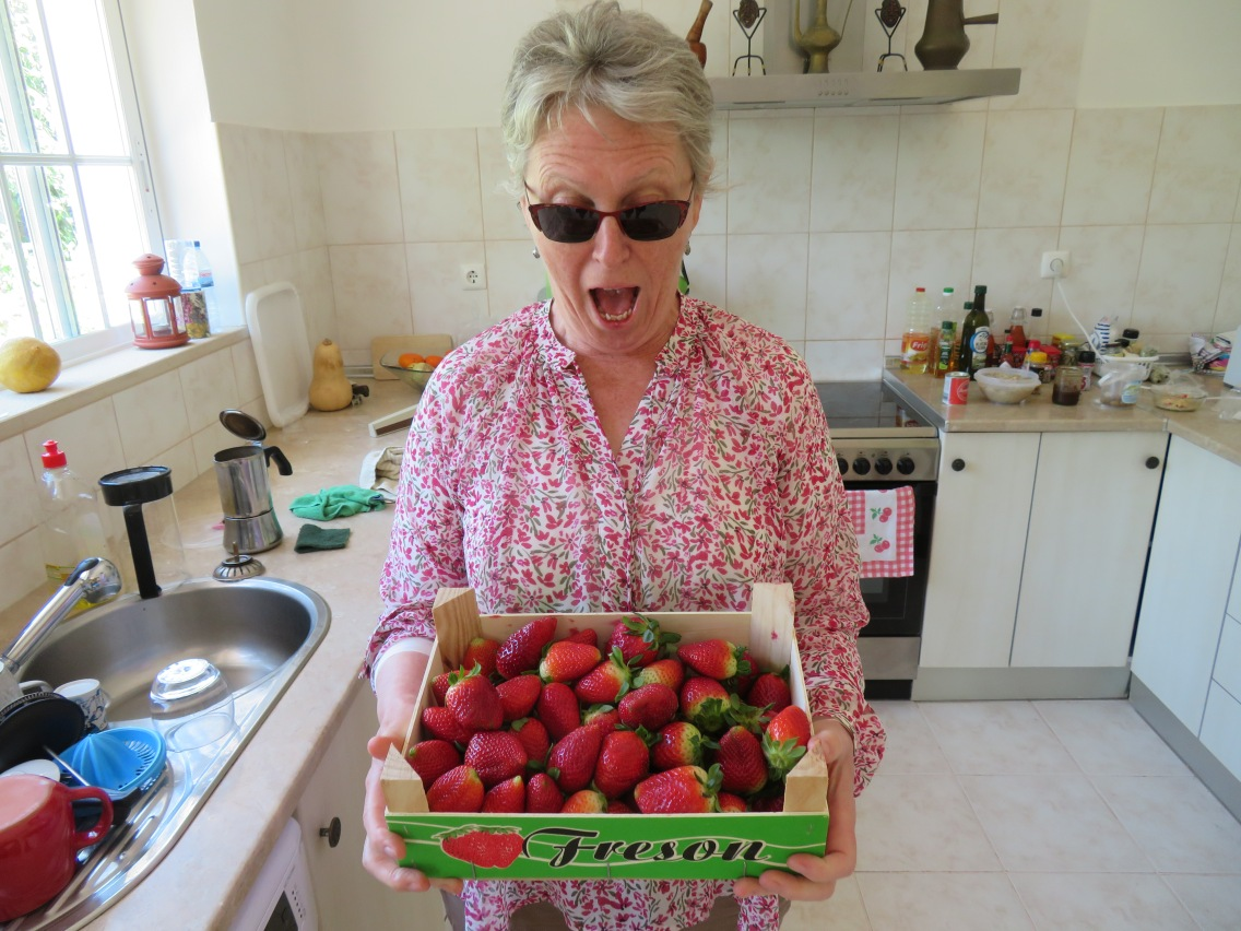 Pat's surprise at the large box of fresh strawberries for 3 euros!!