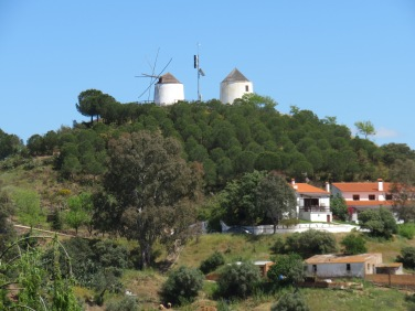 Old windmills on the Spanish side of the river.