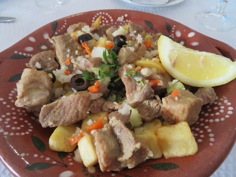 My succulent Portuguese porc with marinated veggies.