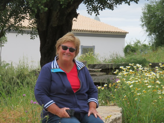 Patricia relaxing near the old church.