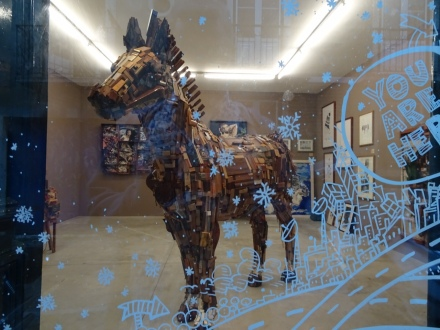 This truly amazing life size horse was made entirely of tiny bits of left over morsels of wood from quarter round, mouldings etc.. A truly gorgeous collage.