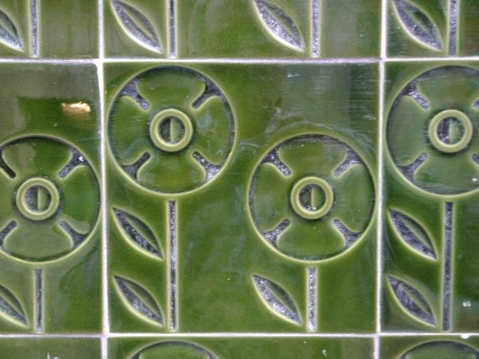 Loads of gorgeous tile work on the exterior of many buildings.