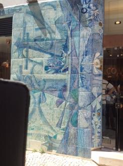 Lovely tile work outside a business.