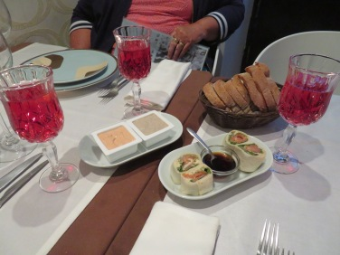 Our starters...home made pates and salmon rolls,