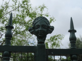 A gate decoration. I love her enigmatic smile!