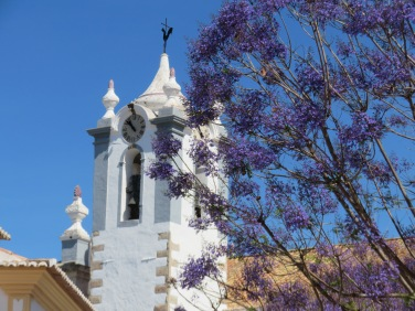 The church steeple of Estoi against the blooming jacaranda.....which is still a week or so away from being fully opened.